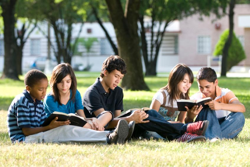 Students learning outside together