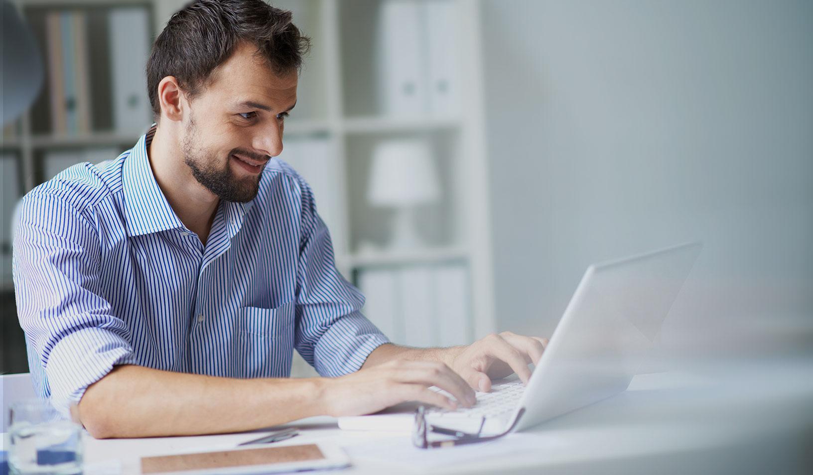 Man at computer working
